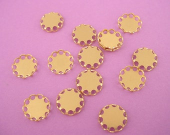 20 brass lace Round Lace Edge Bezel Cups 9mm