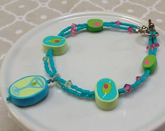 Teal, Lime and Pink Martini Beaded Bracelet