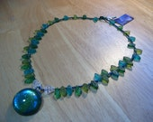 Elven Fae Forest Glass Leaves  Amulet Necklace OOAK