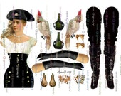 3 PIRATE  PAPER DOLLS Lady Bucaneer instant 4 sheets Digital download PrintablePapercrafts Scrapbook Cardmaking