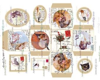 ALICE GIFT BOX Wonderland  BIrthDay Gift Instant Digital Download Printable White rabbit Cheshire Absolum Tags  Printable