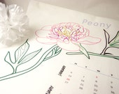 Bachelor Button and Peony Tea Towel 2014 Calendar