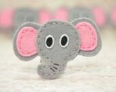 Set of 6pcs handmade felt elephant--brite grey (FT960)