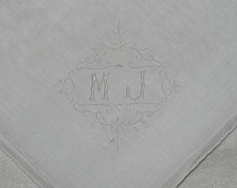 Vintage White Handkerchief with MJ Embroidered in One Corner Hanky - Hankie