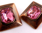 Rustic Copper Pink Crystal Post Earrings, Vintage Hot Pink Earrings, Square Copper Studs, Sparkly Pink Post Earrings (E164)