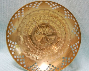 1960s Brass Bowl Cut Out Vintage India 1960s