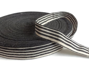 Black and white striped french cotton ribbon, 20 yards.
