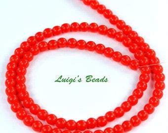 100 Czech Glass Round Druk Glass Beads Opaque Red 4mm