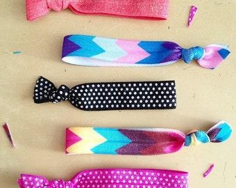 20 hairties SEALED EDGE assortment- hairlettes yoga ties elastic ponytail hair tie bracelets - custom colors- set of 20
