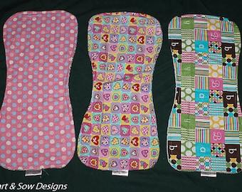 Baby Burp Cloth Set Girl Baby Shower Gift- Handmade- Flannel- Terry Cloth-Burp Rag - Pinks- Infant Newborn