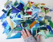 Glass Scraps- 16 Pounds- all sizes - Perfect for Mosaic  projects