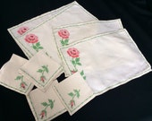 Set of 4 Vintage Napkins and Placemats with Cross Stitch Roses