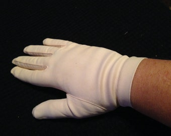 Pair of Vintage Ladies' Ecru Stretch Nylon Gloves