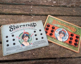 Pair of Vintage New on Card Starsnap Brand Gem of the Notions Perfect Black Dress Fasteners (Sizes 1 and 4/0)