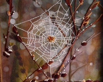 Roycroft Original One-of-a-Kind Needle Art spiderweb with French knots, Stump work, silk, canvas