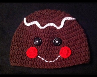 Gingerbread Man Crochet Hat - Made to Order