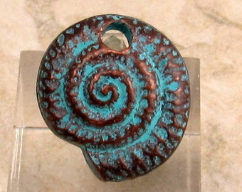 Nautilus Spiral Shell Pendant, Greek Casting, Green Patina, 20 MM,  M288
