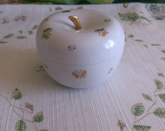 White Porcelain Apple Box with Golden Butterflies all over it