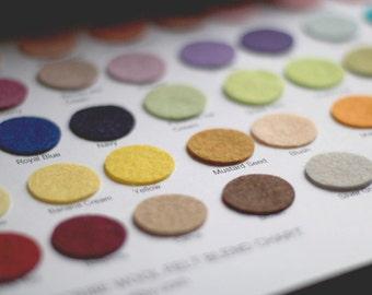 Wool felt sample chart - wool felt circles - wool felt flowers - wool felt roses - circles - color chart
