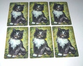 Vintage Playing Cards with Black and White Cat Yellow and Green Background Set of 6