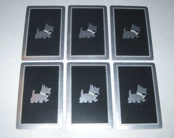 Vintage Playing Cards with Silver Scottie or Scotty Dog on Black Background Set of 6