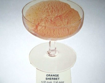 Vintage 1970s Food or Nutrition Die Cut Cardboard School Decoration of Orange Sherbet in a Dish