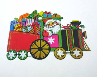 Vintage Christmas Die Cut Christmas Train with Santa Claus Presents and Tree