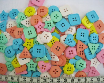 50 pcs of Pastel Pink Green Yellow Orange Blue Beige Button - Square Flower Triangle Star Heart -17 - 20 mm