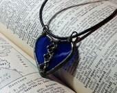 Stained glass pendant, Soldered Art Charm, Laced Glass Heart Necklace, Mend A Broken Heart, Cobalt Blue Art Glass