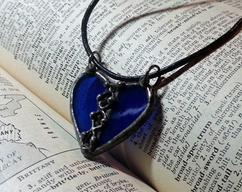 Stained glass pendant, Soldered Art Charm, Laced Glass Heart Necklace, Mend A Broken Heart, Cobalt Blue Art Glass