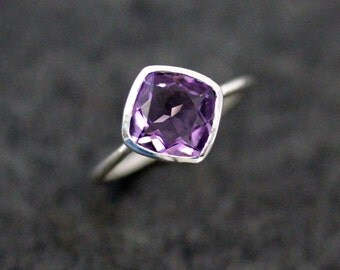 Amethyst Diagonal Antique Cushion  Solitaire Ring, Gemstone Ring Ready To Ship Size 7