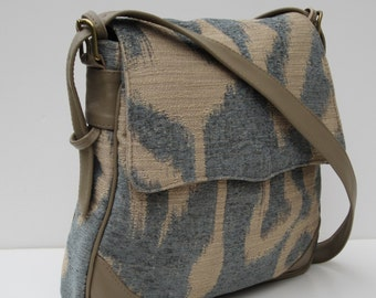 MESSENGER BAG Fabric with Leather  Sand and Sea