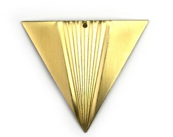 Triangle Corrugated Center Large Charm or Pendant Raw Brass (4) CP249