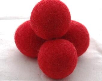 4cm Felt Balls - 5 Count - Red