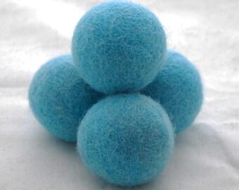 4cm Felt Balls - 5 Count - Turquoise Blue