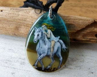 White horse in the night -  fused glass pendant