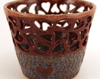 Wheel Thrown Stoneware Pottery Votive Candle Holder Carved Hearts Blue Burgundy OOAK