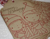 Handmade Vintage Style Christmas Gift Tags - Mimi and  Friend - Christmas Blessings