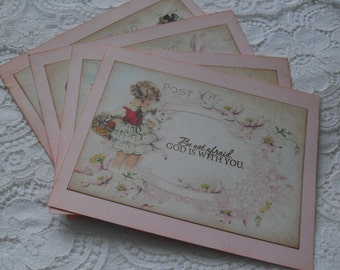 Little Girls Stationery Set -  Stamped Postcards - Flat Notecards
