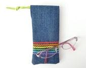 fabric eyeglass case. rainbow ric rac denim sunglasses drawstring bag. padded glasses pouch