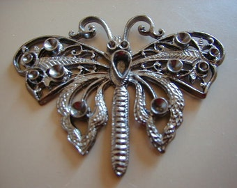 1 Vintage Pewter or Gunmetal Cast Butterfly Gbin