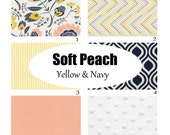 Custom Crib Bedding-3 piece- Soft Coral, Navy and Yellow Baby Girl Bedding