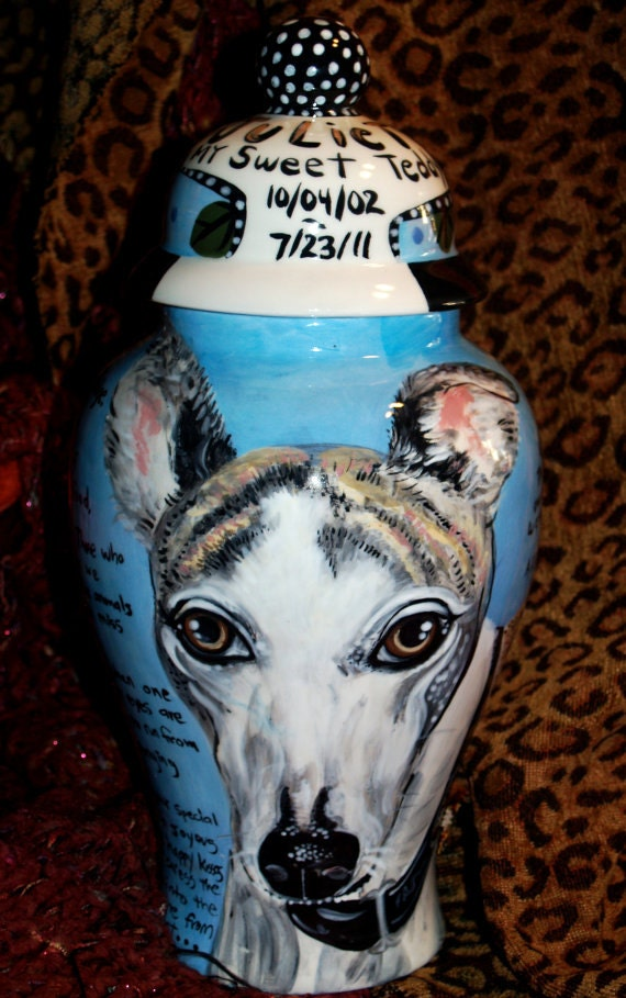 Ceramic burial PET URN Custom large dog urn any breed personalized for Sherri