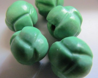 Vintage Glass Beads (2) Green Molded Focal Beads