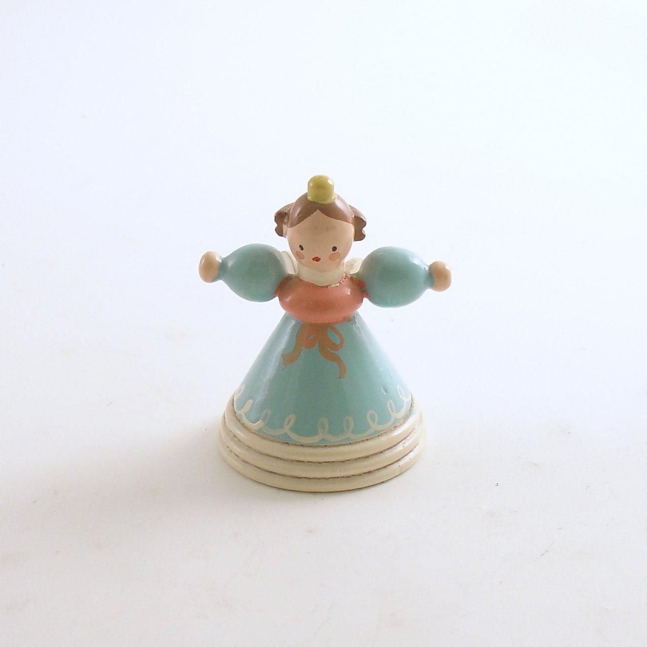 Vintage angel wood figurine christmas decoration italy polka
