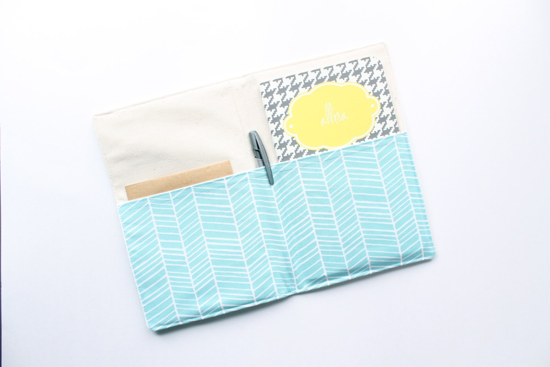 Portfolio Aqua and White Herringbone Notepad by allisajacobs