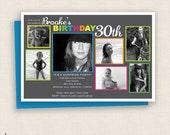 MULTI PHOTO - DIY Printable - Multi Color Birthday Party Invitation