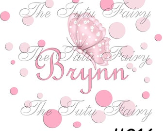 Pink Butterfly portraits polka dots shirt t-shirt name age personalized baby toddler 12 18 2t 3t 4t 5t 5/6 7 1st first