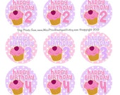 4x6 - BIRTHDAY CUPCAKE NUMBERS - Instant Download-   One Inch Bottlecap Digital Collage Images- No.203