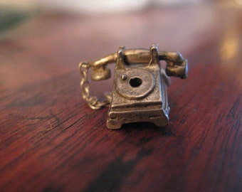 One Ringy Dingy....1940s-50s Sterling Silver ROTARY PHONE CHARM Bracelet Charm